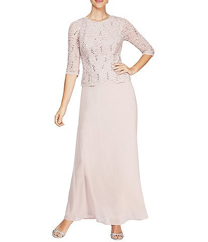 Alex Evenings Petite Sequined Lace-Bodice Gown
