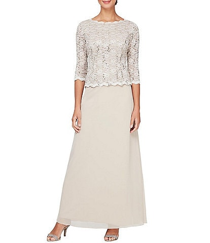 Alex Evenings Petite Size Sequined Lace Bodice Crew Neck 3/4 Sleeve Chiffon Skirted Gown