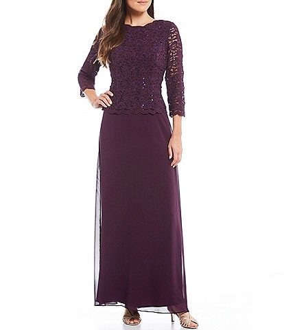 be18e1f558 Alex Evenings Petite Sequined Lace-Bodice Gown