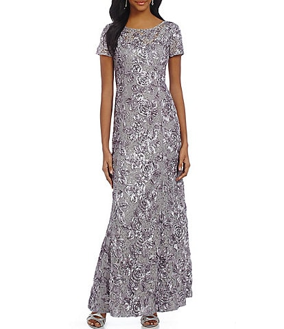 Alex Evenings Petite Sequined-Lace Rosette-Rose Gown