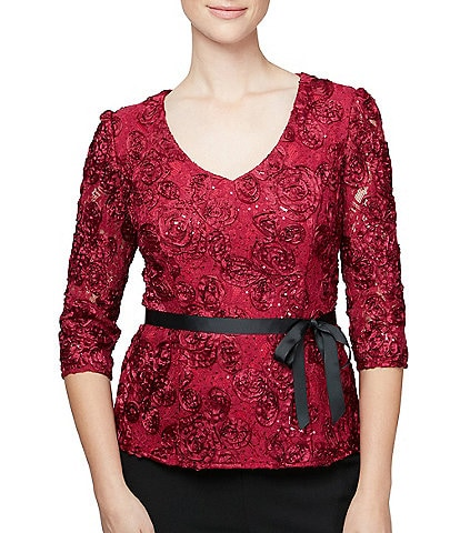 Alex Evenings Petite Size 3/4 Sleeve Floral Rosette Sequin Tie Waist Blouse