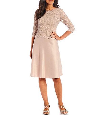 Alex Evenings Petite Size 3/4 Stretch Lace Sleeve Jewel Neck Satin Dress