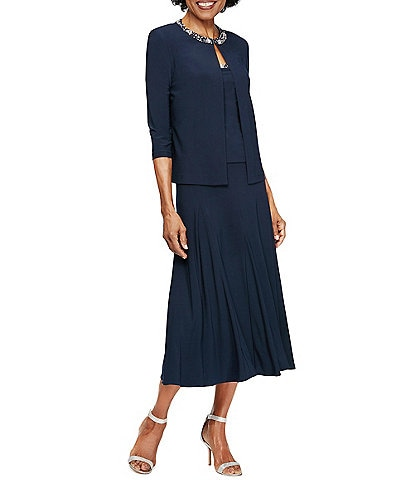 Alex Evenings Petite Size Beaded Midi Jacket Dress
