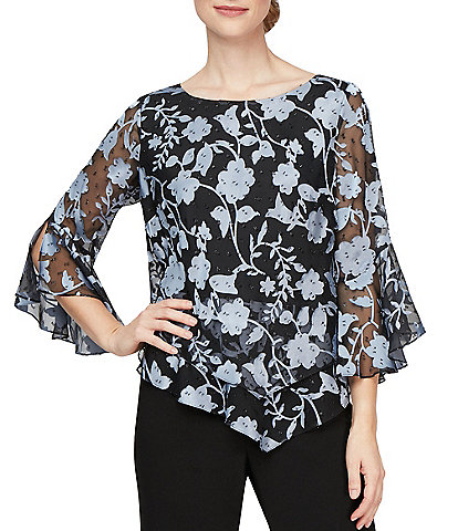 Alex Evenings Petite Size Boat Neck 3/4 Bell Sleeve Floral Printed Double Tier Blouse