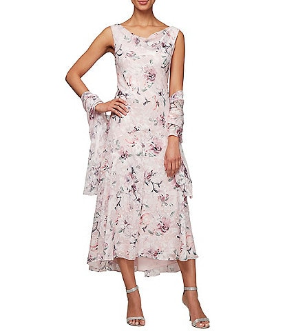 Alex Evenings Petite Size Burnout Floral Print Sleeveless Shift Dress