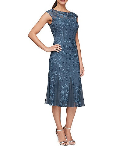 Alex Evenings Petite Size Cap Sleeve Illusion Embroidered Fit & Flare Dress