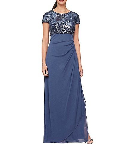 Alex Evenings Petite Size Cap Sleeve Stretch Sequin Side Ruffle Gown