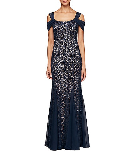 Alex Evenings Petite Size Cold Shoulder Sequin Lace Gown