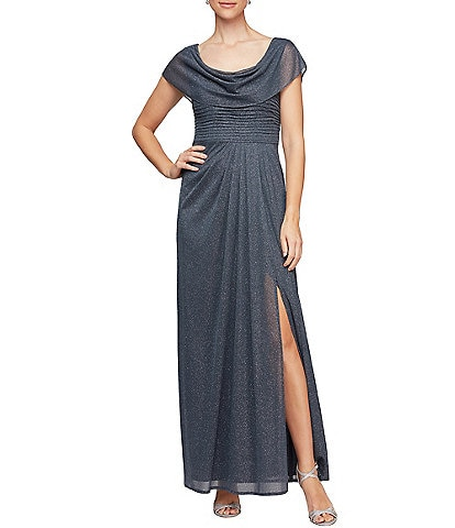 Alex Evenings Petite Size Cowl Neck Short Sleeve Glitter Mesh Gown