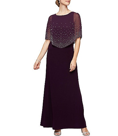 Alex Evenings Petite Size Embellished Popover Stretch Matte Jersey Gown