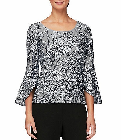 Alex Evenings Petite Size Embroidered Cascade Bell Sleeve Blouse