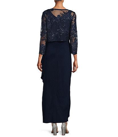 Alex Evenings Petite Size Embroidered Lace Scoop Neck 3/4 Sleeve 2-Piece Jacket Dress