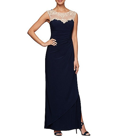 Alex Evenings Petite Size Embroidered Neckline Cascade Side Ruched Long Gown