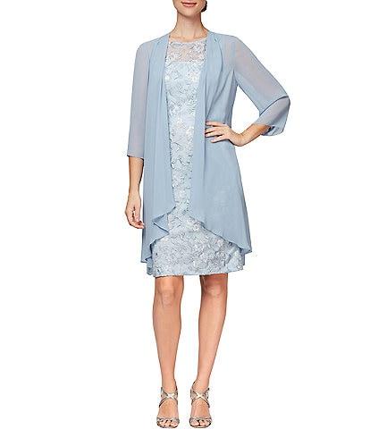 Alex Evenings Petite Size Embroidered Sheath Chiffon Jacket Dress