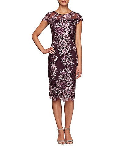 Alex Evenings Petite Size Floral Embroidered Cap Sleeve Sheath Midi Dress