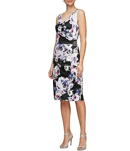 Alex Evenings Petite Size Floral Print Sleeveless Sheath Dress
