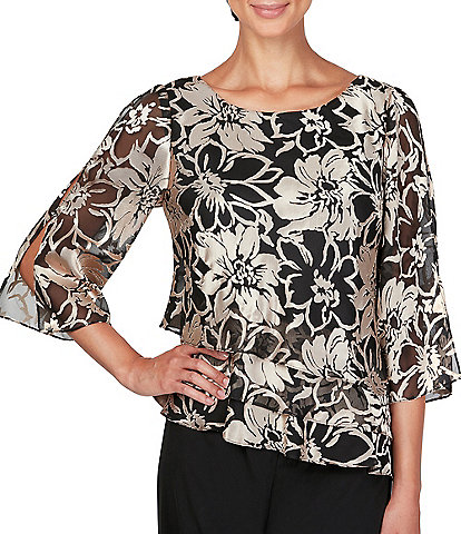 Alex Evenings Petite Size Floral Print Triple Tier Burnout Blouse