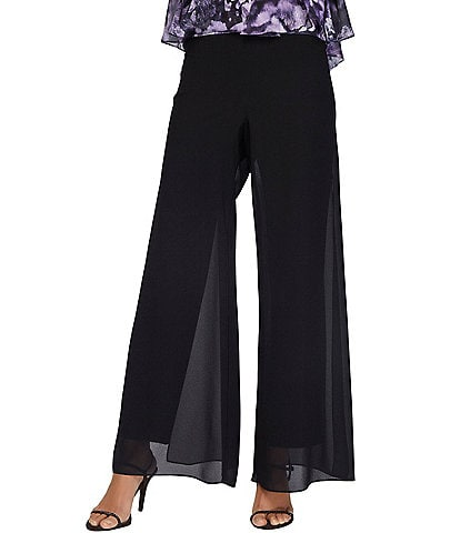Alex Evenings Petite Size Georgette Straight Leg Overlay Pant