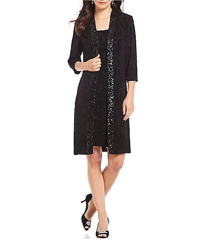 Alex Evenings Petite Size Glitter Jacquard Sequin Trim Jacket Dress