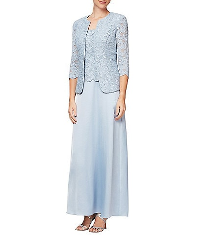 Alex Evenings Petite Size Glitter Lace 2 Piece Jacket Dress