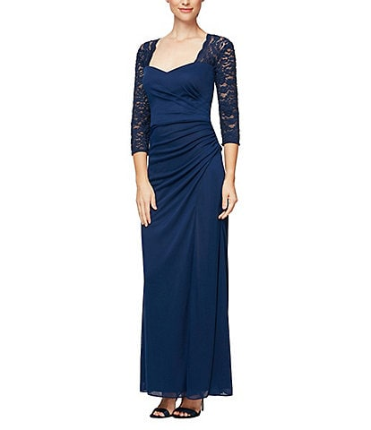 Alex Evenings Petite Size Illusion 3/4 Sleeve Sweetheart Neck Glitter Lace Ruched Gown
