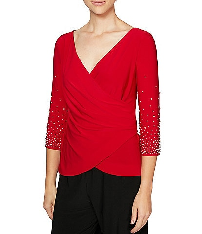 Alex Evenings Petite Size Matte Jersey 3/4 Sleeve Embellished Detail Surplice Blouse