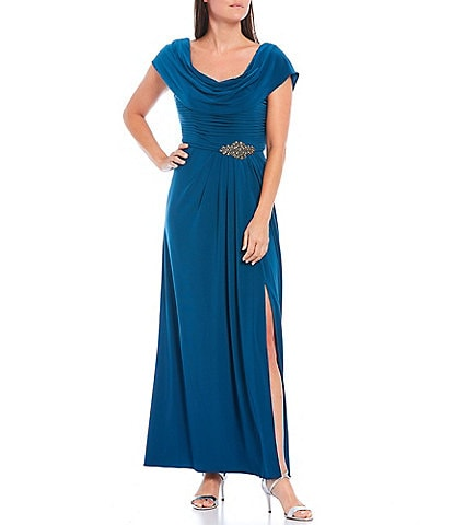 Alex Evenings Petite Size Matte Jersey Cowl Neck Pleated Embellished Waist High Slit Long Gown