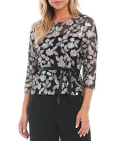 Alex Evenings Petite Size Round Neck 3/4 Sleeve Stretch Embroidered Floral Sequin Peplum Ribbon Belt Blouse