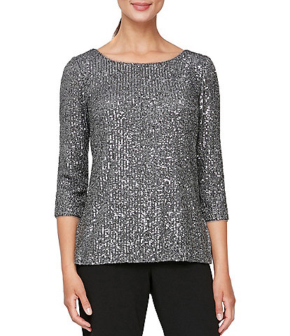 Alex Evenings Petite Size Scoop Neck Keyhole Back 3/4 Sleeve Sequin Embroidered Tunic