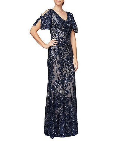 Alex Evenings Petite Size Sequin A-Line Flutter Cold Shoulder Sleeve V-Neck Long Gown