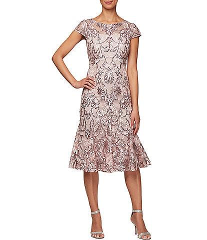 Alex Evenings Petite Size Sequin Embroidered Cap Sleeve Flounce Hem Midi Dress