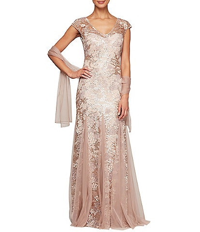 Alex Evenings Petite Size Sequin Embroidered V-Neck Cap Sleeve Lace Godet Skirt Shawl Gown
