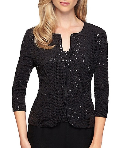 Alex Evenings Petite Size Sequin Jacquard 3/4 Sleeve Twinset