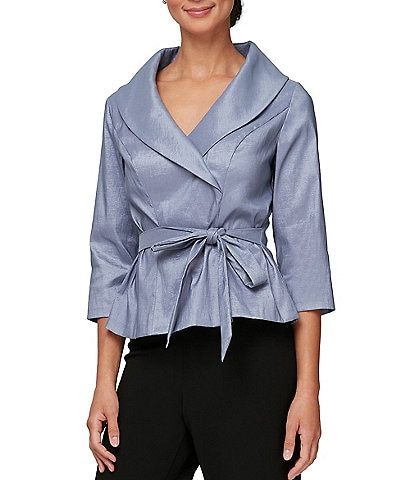 Alex Evenings Petite Size Shawl Collar 3/4 Sleeve Tie Waist Blouse