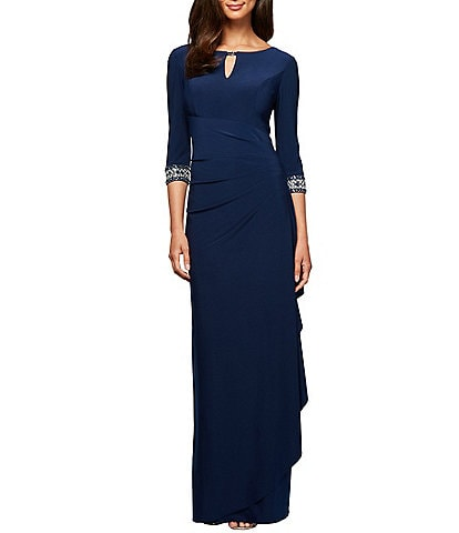 Alex Evenings Petite Size Side Ruched Embellished Cuff Gown