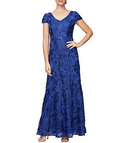 Alex Evenings Petite Size Soutache Embroidered Lace Gown