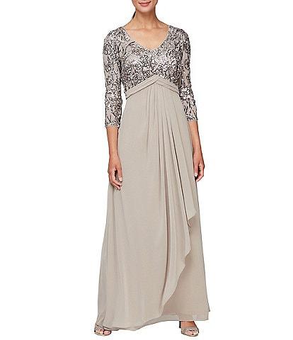 Alex Evenings Petite Size Stretch Sequin Mesh Empire Waist 3/4 Sleeve Drape Front V-Neck Gown
