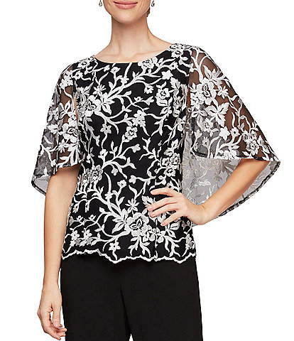 Alex Evenings Petite Size Stretch Tulle Floral Embroidered Caplet Sleeve Scallop Hem Top