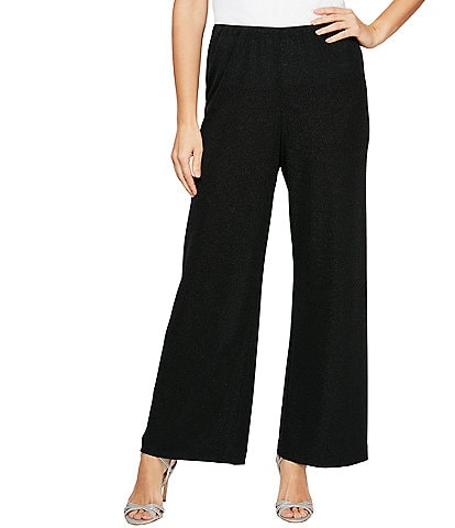 Alex Evenings Petite Size Stretchy Glitter Knit Straight Leg Pant