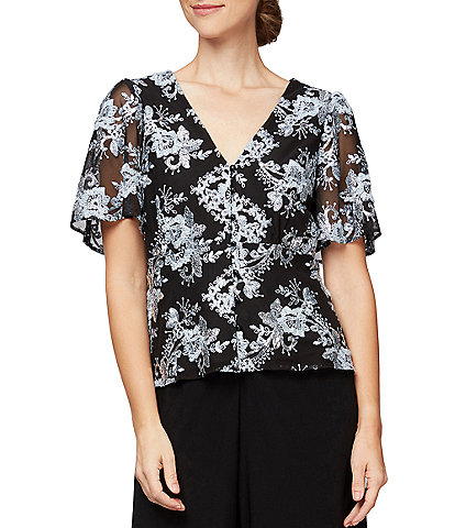 Alex Evenings Petite Size V-Neck Floral Embroidered Sequin Lace Short Sleeve Blouse
