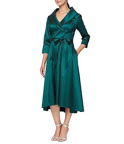 Alex Evenings Petite Stretch Taffeta 3/4 Sleeve Portrait Collar Tie Side Midi Dress