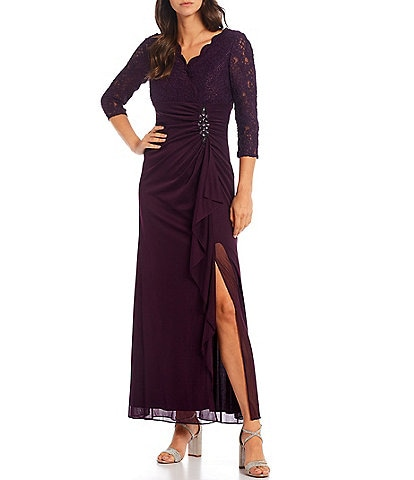 Alex Evenings Petite Size Surplice V-Neck Lace Bodice 3/4 Sleeve Ruched Beaded Empire Waist Slit A-Line Gown