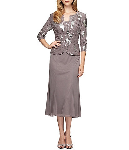 Alex Evenings Petite Sequin Bursts 2-Piece Tea Length Jacket Dress