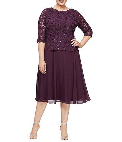 Alex Evenings Plus Size Sequin Lace 3/4 Illusion Sleeve Bodice Chiffon Skirted Tea Length Dress