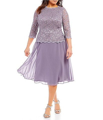 Alex Evenings Plus Size Mock 2-Piece Lace Tea Length Dress