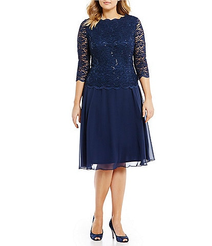 Alex Evenings Plus Size Sequin Lace 3/4 Illusion Sleeve Bodice Chiffon Skirted Tea Length Dress