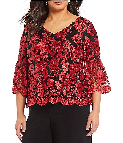 Alex Evenings Plus Floral Embroidered V-Neck Blouse