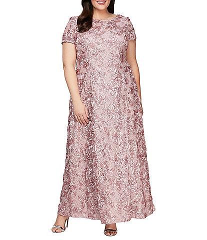 Alex Evenings Plus Size Floral Rosette Short Sleeve A-Line Gown