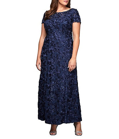 Alex Evenings Plus Size Floral Rosette Short Sleeve A-Line Gown