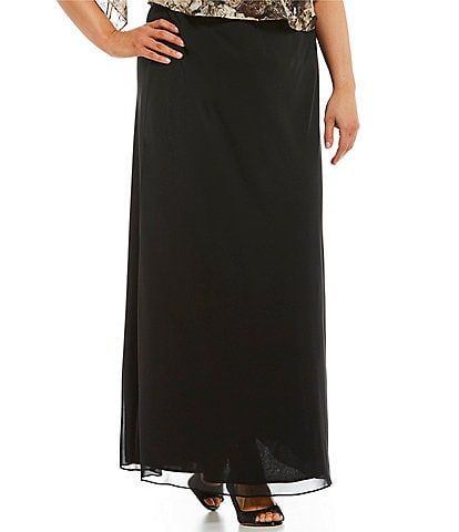 Alex Evenings Plus Chiffon Column A-Line Skirt